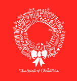 Handwritten Christmas wreath card Word Cloud design Royalty Free Stock Images