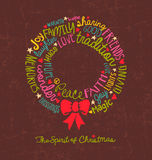 Handwritten Christmas wreath card Word Cloud design Stock Image