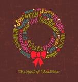 Handwritten Christmas wreath card Word Cloud design Stock Image