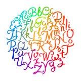 Handwritten colorful alphabet Stock Images