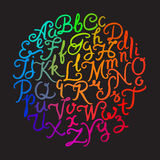 Handwritten colorful alphabet Royalty Free Stock Photography