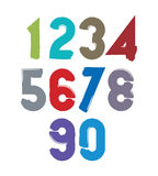 Handwritten colorful vector numbers, stylish numbers set drawn w Royalty Free Stock Images