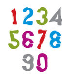 Handwritten colorful vector numbers, stylish numbers set drawn w Royalty Free Stock Photography