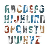 Handwritten contemporary vector digit set, doodle hand-painted nVector alphabet acrylic letters set, hand-drawn colorful script, b Stock Images