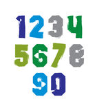 Handwritten contemporary vector digit set, hand-painted Stock Photo