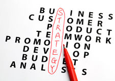 Handwritten in crossword for strategy Stock Images