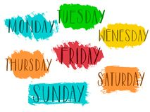Free Handwritten Days Of The Week Monday, Tuesday, Wednesday, Thursday, Friday, Saturday Sunday Calligraphy.Lettering Typography Vector Royalty Free Stock Image - 131480626