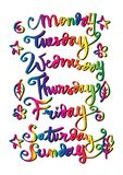 Handwritten days of the week. Monday, Tuesday, Wednesday, Thursday, Friday, Saturday, Sunday Royalty Free Stock Image