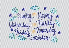 Handwritten days of the week. Monday, Tuesday, Wednesday, Thursday, Friday, Saturday, Sunday Stock Image