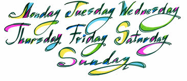 Handwritten days of the week Monday, Tuesday, Wednesday, Thursday, Friday, Saturday, Sunday. Black ink calligraphy words Stock Photo