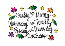 Handwritten days of the week. Monday, Tuesday, Wednesday, Thursday, Friday, Saturday, Sunday Royalty Free Stock Photos