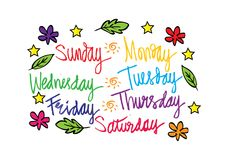 Handwritten days of the week. Monday, Tuesday, Wednesday, Thursday, Friday, Saturday, Sunday Stock Photo