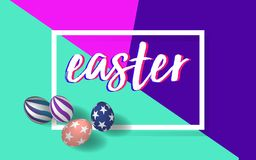 Handwritten Easter font with 3D Easter eggs in brightness colors background Royalty Free Stock Image