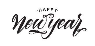 Handwritten elegant brush lettering of Happy New Year isolated on white background. Vector illustration. Handwritten elegant brush lettering of Happy New Year vector illustration