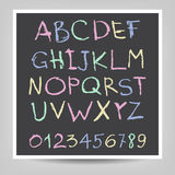 Handwritten English alphabets and digits Stock Photo