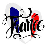 Handwritten France. Calligraphic vector text. Flag of France in. The form of heart. Hand written France poster Royalty Free Stock Image