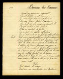 Handwritten French poem. Poem handwritten on page torn from an old exercise book Royalty Free Stock Images