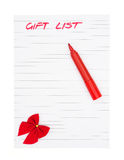 Handwritten gift list Royalty Free Stock Image