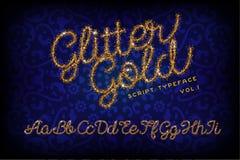 Glitter Gold Handwritten alphabet stock illustration