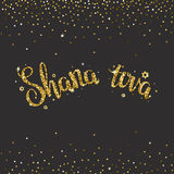 Handwritten glitter gold  lettering with text 'Shana tova'. Royalty Free Stock Photography