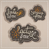 Gluten, lactose, sugar free labels. Handwritten Gluten, lactose, sugar free labels Royalty Free Stock Photos