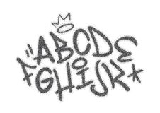 Handwritten graffiti font alphabet. Artistic hip hop typography collection part 1. vector illustration