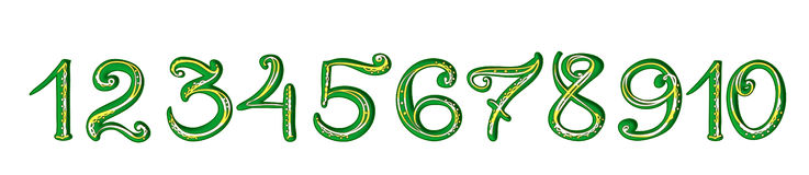 Handwritten green numerals with yellow filigree decoration isolated Stock Photos