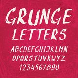 Handwritten grunge alphabet with letters and Royalty Free Stock Photography