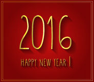 2016 handwritten Happy New Year red poster Stock Photos