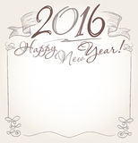 Handwritten 2016 and Happy New Year words greeting. Vector Stock Photo