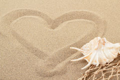 Handwritten heart on sand with seashell and shallow focus Stock Photography