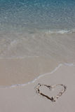 Handwritten heart on sand Royalty Free Stock Images