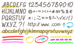 Handwritten Highlighter Alphabet. Letters, numbers and symbols. Optimized for one click color changes. Transparent colors EPS10 vector Stock Photos