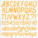 Handwritten Highlighter Alphabet. Letters, numbers and symbols. Optimized for one click color changes. Transparent colors EPS10 vector Stock Images