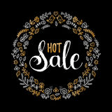 Handwritten Hot Sale vector illustration for poster or banner. Discount text in floral frame on black background. Handwritten Hot Sale vector illustration for Royalty Free Stock Image