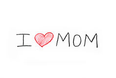 Handwritten I Love Mom Note from Child's Crayon Stock Images