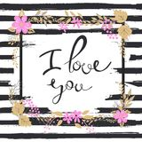 Handwritten I love you text. Frame of flowers. Striped background.  Royalty Free Stock Images