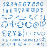 Handwritten icons and numerals from rough pencil strokes. On of Royalty Free Stock Images