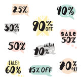 Handwritten ink sale lettering with percent set & pastel speech Royalty Free Stock Photo