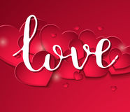 Handwritten inscription love fine feast on a background of red hearts. Banner Valentines Day or wedding. Calligraphy vector illustrations. 10 eps Royalty Free Illustration