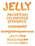 Handwritten jelly font. Jelly  font on white background. Easy coloring in illustrator (Recolor artwork Royalty Free Stock Photography
