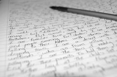 Handwritten letter. A close up of a handwritten letter royalty free stock photography