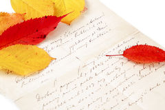 Handwritten letter with autumn leaves Royalty Free Stock Images