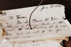 Handwritten Letter. A handwritten letter in cursive handwriting from June 11, 1879 to a Mr. Thomas. This letter was displayed at Old World Wiscosnin in Eagle, WI stock photography