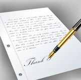 Handwritten letter with fountain pen. Handwritten letter on paper with golden fountain pen Royalty Free Stock Photo