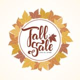 Handwritten lettering of Fall Sale on hand drawn autumn leaves background. Vector illustration: Handwritten lettering of Fall Sale on hand drawn autumn leaves Royalty Free Stock Images