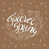 Handwritten lettering. Forever Spring. Motivational handwritten lettering. Romantic design element that can be used on a T-shirt, postcard, poster, invitation Stock Photos