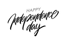 Handwritten lettering of Happy Independence Day on white background. Fourth of July typographic design. Vector illustration: Handwritten lettering of Happy Royalty Free Stock Photography