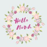 Handwritten lettering Hello March isolated on background with flower wreath. Lettering Hello March as logo, badge, postcard, poster, banner, web, warm season Royalty Free Stock Photo