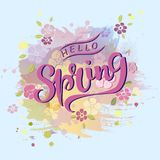 Handwritten lettering Hello Spring isolated on modern pastel colors painting imitation background. Lettering for art shop, logo, badge, postcard, poster Royalty Free Stock Photos